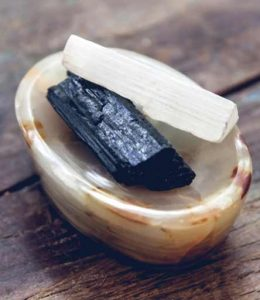 Selenite and Black Tourmaline make a wonderful duo of crystals for your workplace or to place on your office desk
